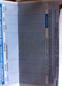 The bill for the anesthesia that killed Rowan.  Five months later, instead of admitting that Rowan was killed, the hospital chooses to keep adding insult to our tragic loss..